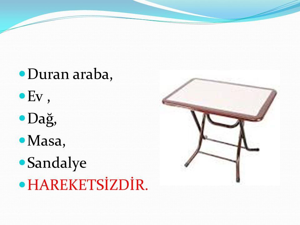 Duran araba, Ev, Dağ, Masa, Sandalye HAREKETSİZDİR.