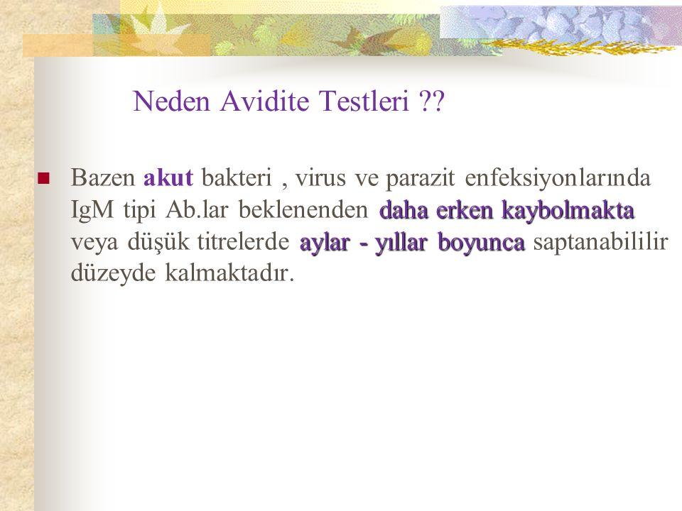 Neden Avidite Testleri ?? daha erken kaybolmakta aylar - yıllar boyunca Bazen akut bakteri, virus ve parazit enfeksiyonlarında IgM tipi Ab.lar beklene