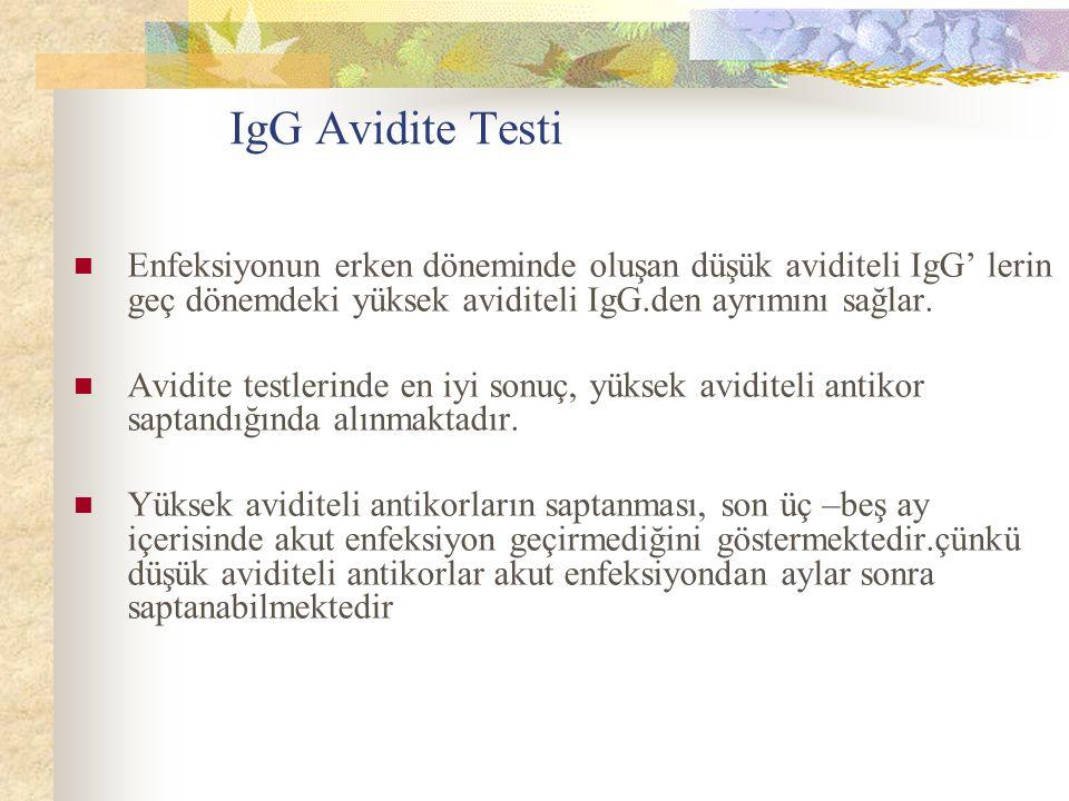 IgG Avidite Testi Enfeksiyonun erken döneminde oluşan düşük aviditeli IgG' lerin geç dönemdeki yüksek aviditeli IgG.den ayrımını sağlar.