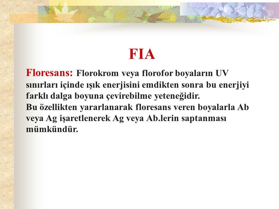 FIA Floresans: Florokrom veya florofor boyaların UV sınırları içinde ışık enerjisini emdikten sonra bu enerjiyi farklı dalga boyuna çevirebilme yetene