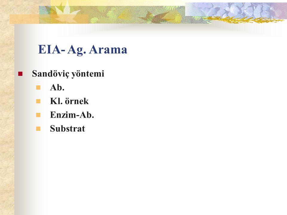 Sandöviç yöntemi Ab. Kl. örnek Enzim-Ab. Substrat EIA- Ag. Arama