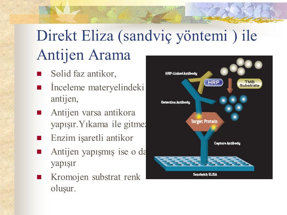 Direkt Eliza (sandviç yöntemi ) ile Antijen Arama Solid faz antikor, İnceleme materyelindeki antijen, Antijen varsa antikora yapışır.Yıkama ile gitmez Enzim işaretli antikor Antijen yapışmış ise o da yapışır Kromojen substrat renk oluşur.