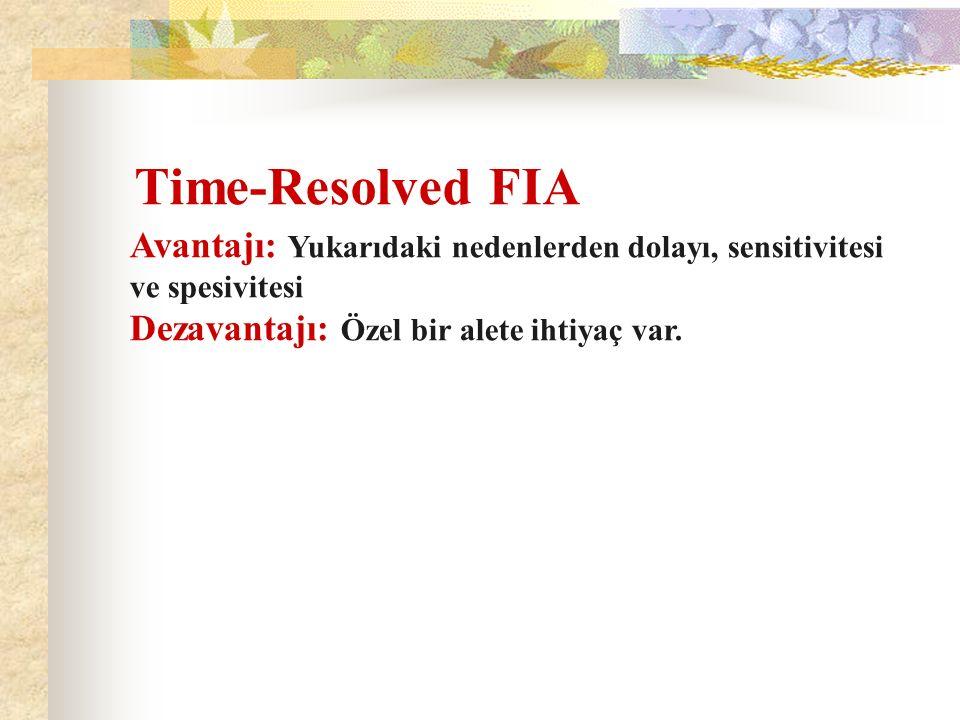 Time-Resolved FIA Avantajı: Yukarıdaki nedenlerden dolayı, sensitivitesi ve spesivitesi Dezavantajı: Özel bir alete ihtiyaç var.