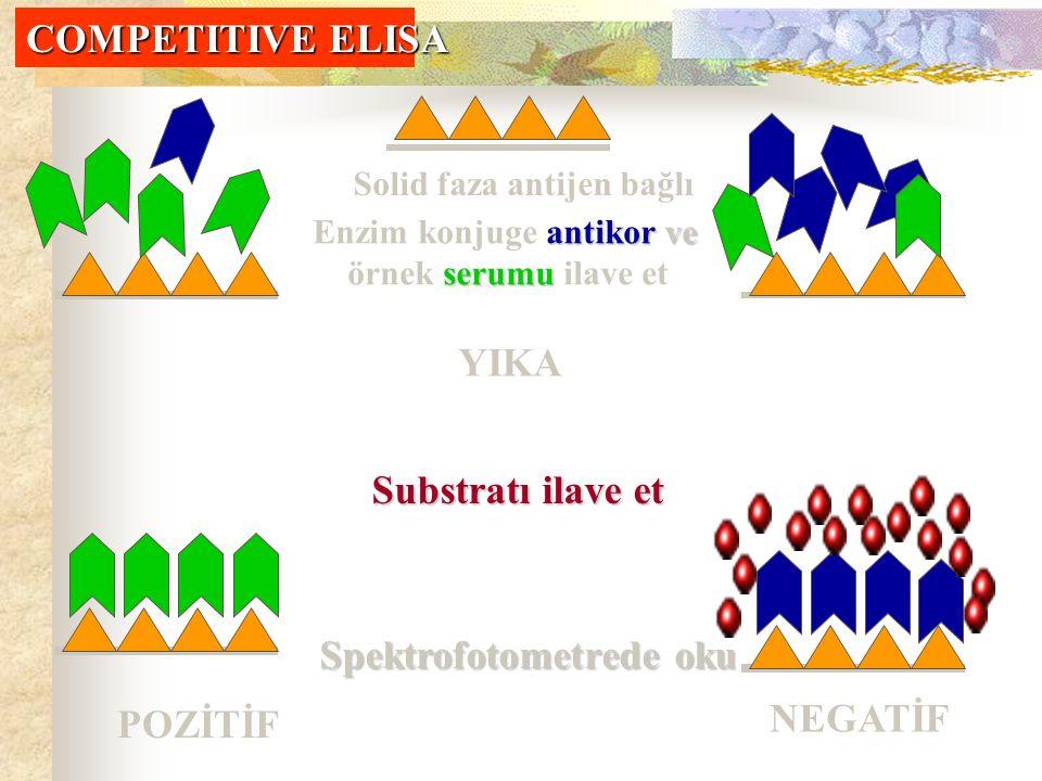 Solid faza antijen bağlı antikor ve Enzim konjuge antikor ve serumu örnek serumu ilave et YIKA Substratı ilave et Spektrofotometrede oku POZİTİF NEGATİF COMPETITIVE ELISA