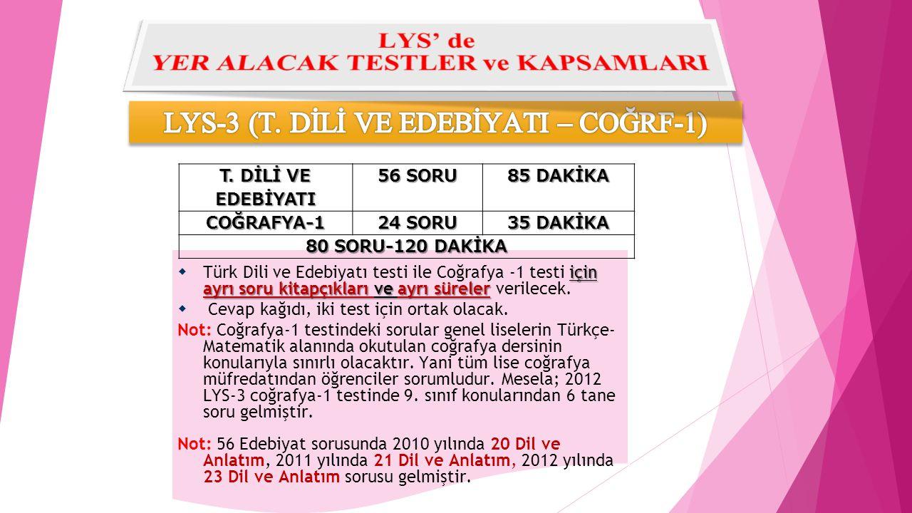 için ayrı soru kitapçıkları ve ayrı süreler  Türk Dili ve Edebiyatı testi ile Coğrafya -1 testi için ayrı soru kitapçıkları ve ayrı süreler verilecek.