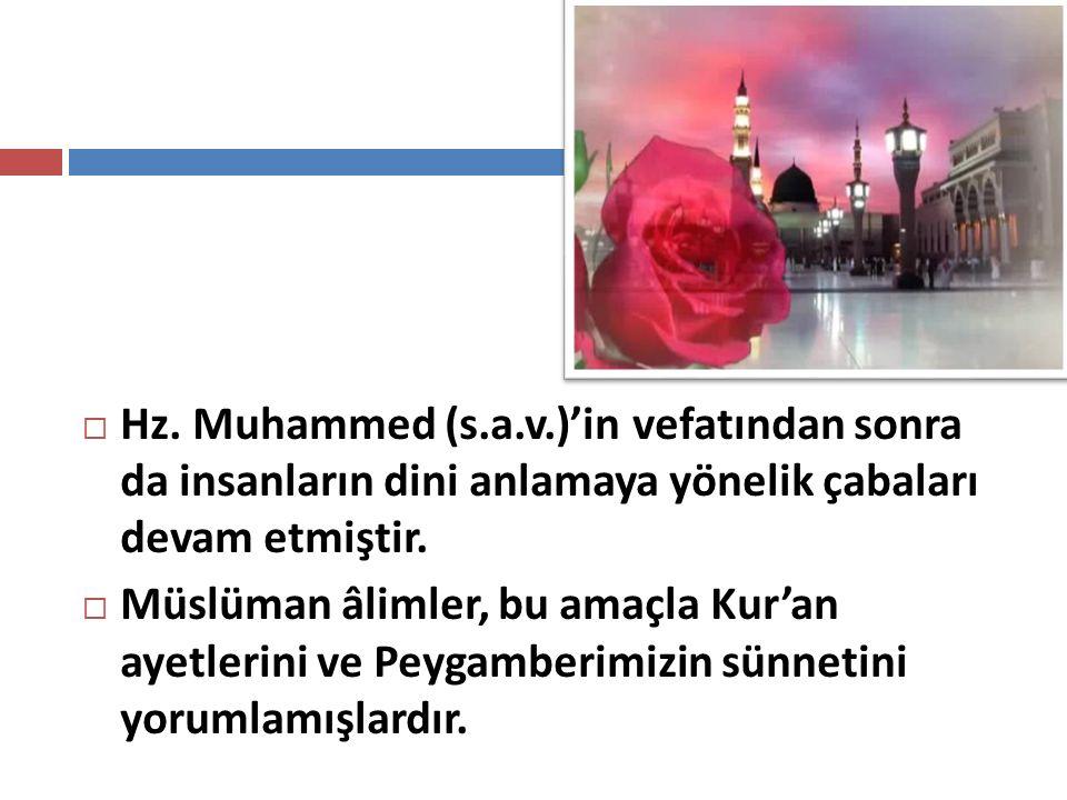  Hz. Muhammed (s.a.v.)'in vefatından sonra da insanların dini anlamaya yönelik çabaları devam etmiştir.  Müslüman âlimler, bu amaçla Kur'an ayetleri