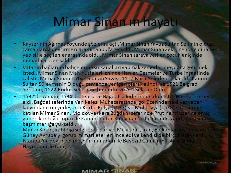 Mimar Sinan ın hayatı Kayserinin Ağırnas köyünde gözlerini açtı.Mimar Sinan Yavuz Sultan Selimin oldugu zamanlarda devşirme olarak istanbul'a getirild