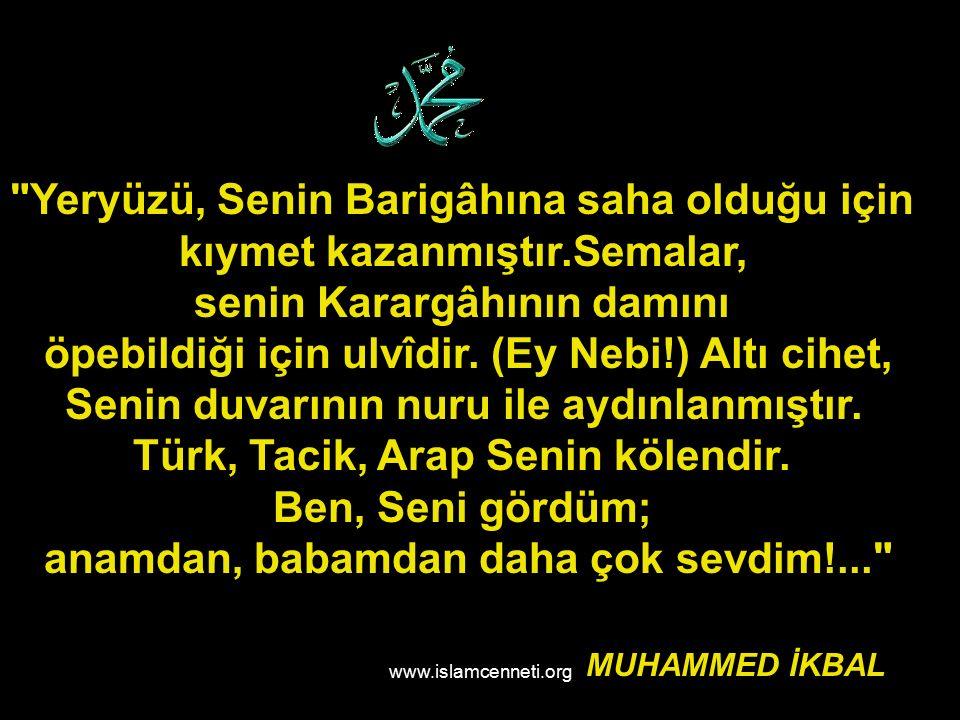 www.islamcenneti.org Yeryüzü, Senin Barigâhına saha olduğu için kıymet kazanmıştır.Semalar, senin Karargâhının damını öpebildiği için ulvîdir.