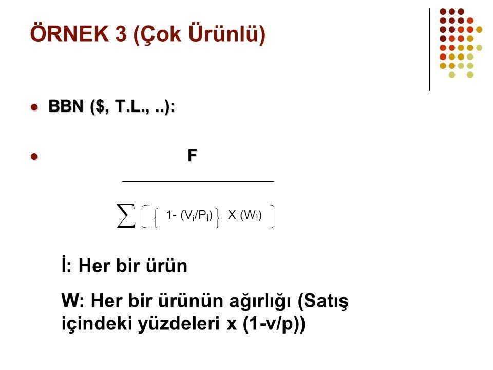 ÖRNEK 3 (Çok Ürünlü) BBN ($, T.L.,..): BBN ($, T.L.,..): F F 1- (V i /P İ )X (W İ ) İ: Her bir ürün W: Her bir ürünün ağırlığı (Satış içindeki yüzdeleri x (1-v/p))