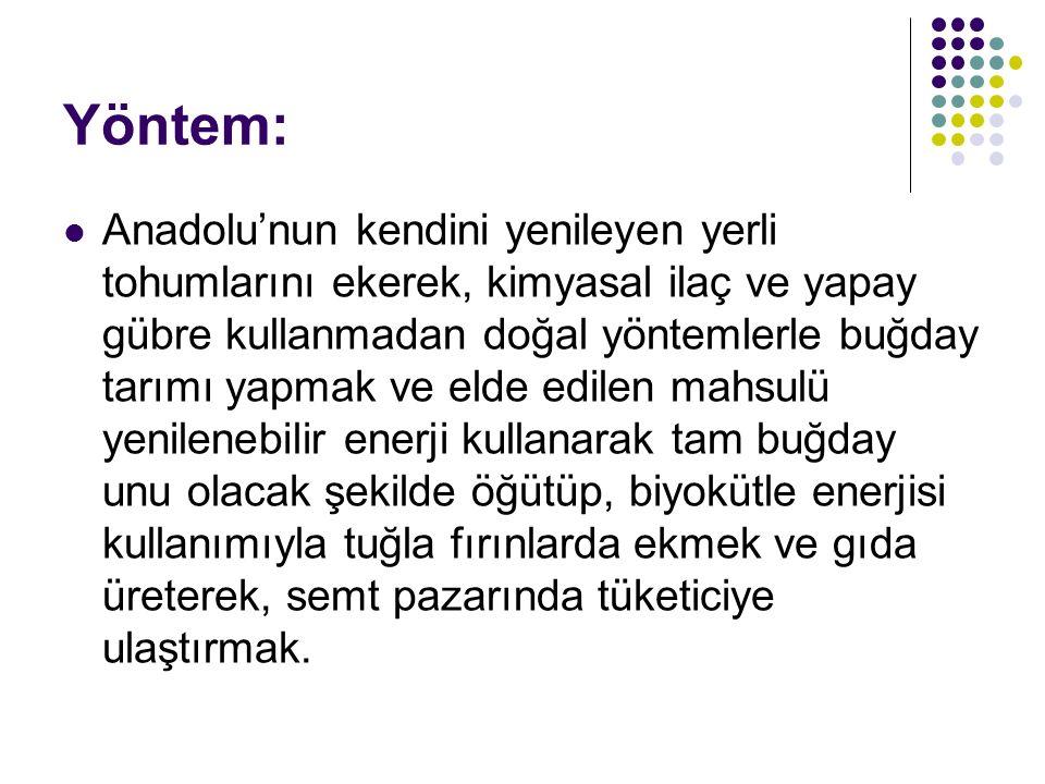 Yöntem: Anadolu'nun kendini yenileyen yerli tohumlarını ekerek, kimyasal ilaç ve yapay gübre kullanmadan doğal yöntemlerle buğday tarımı yapmak ve eld