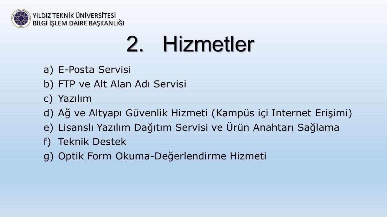 2.Hizmetler a)E-Posta Servisi b)FTP ve Alt Alan Adı Servisi c)Yazılım d)Ağ ve Altyapı Güvenlik Hizmeti (Kampüs içi Internet Erişimi) e)Lisanslı Yazılı