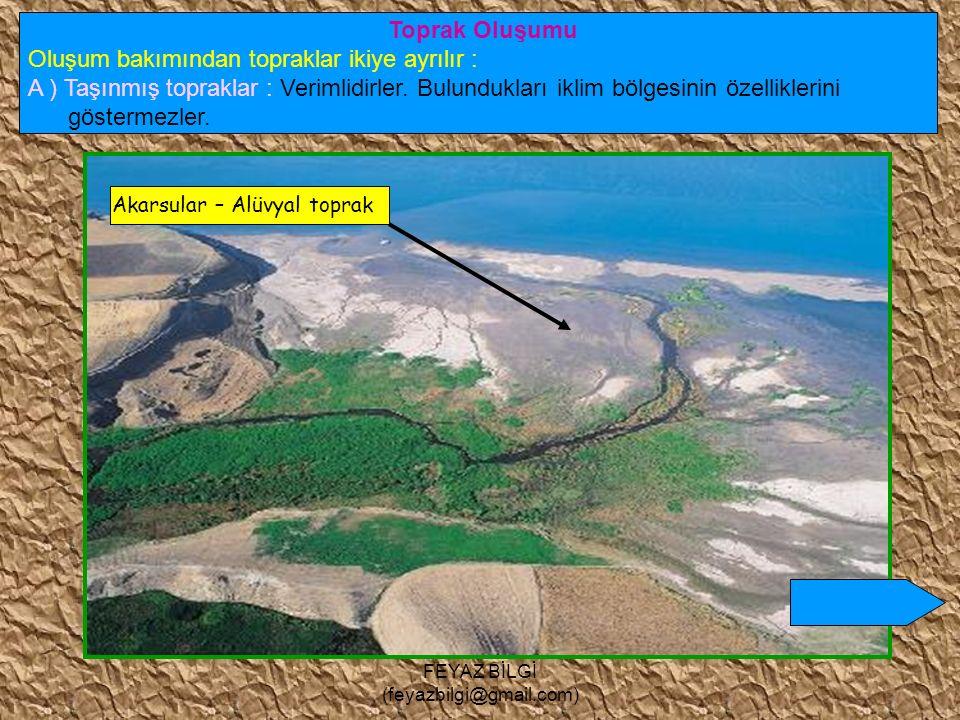 FEYAZ BİLGİ (feyazbilgi@gmail.com) b) Kimyasal çözülme : Kayaların, su ve sıcaklığa bağlı olarak ufalanmasıdır. Bu çözülmede toprak oluşur. Su ve sıca