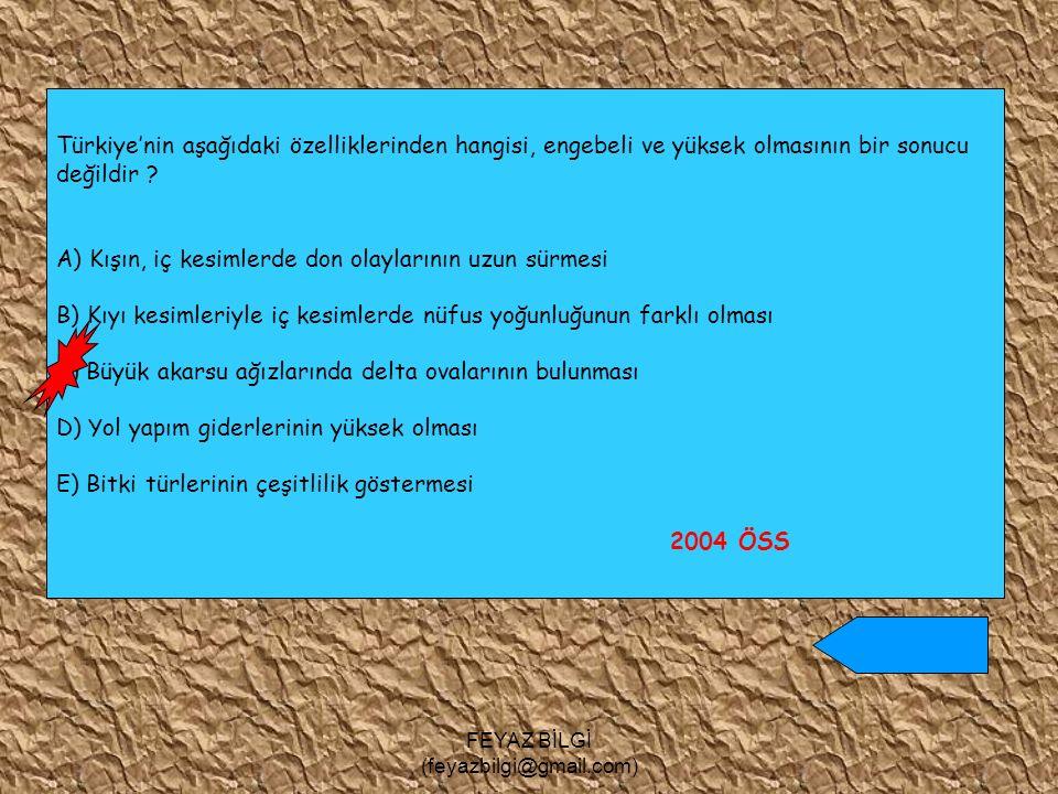 FEYAZ BİLGİ (feyazbilgi@gmail.com) IV I V II III Yukarıdaki Türkiye haritasında numaralanmış yerlerin hangilerinde görülen erozyonun başlıca nedenleri bitki örtüsünün seyrekliği ve yağışların düzensizliğidir.