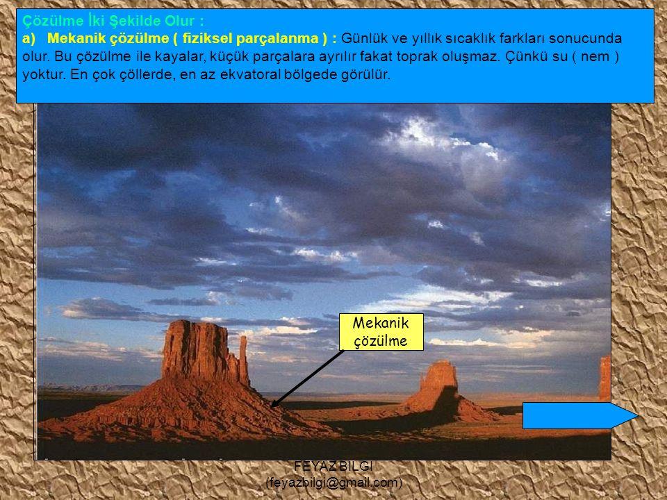 FEYAZ BİLGİ (feyazbilgi@gmail.com) Çözülme ve Toprak Oluşumu Kayaların havadaki gazlar, su, sıcaklık farkı ve canlıların etkisiyle dağılıp ufalanmasına çözülme denir.