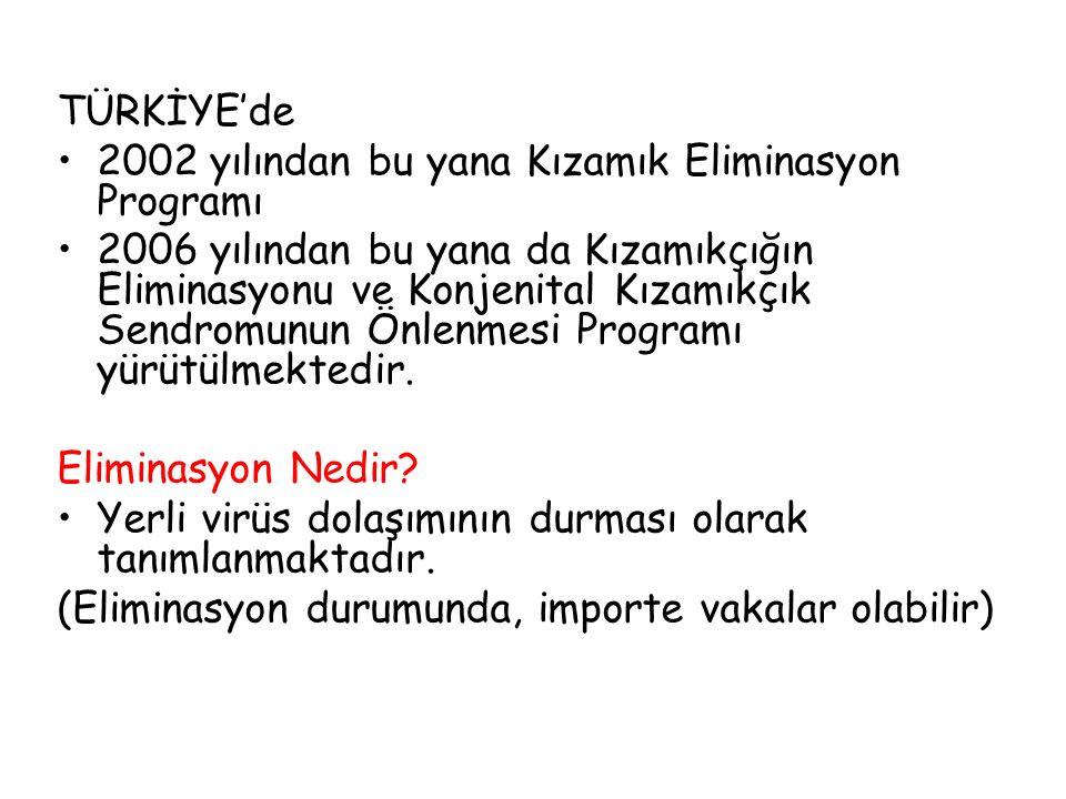 Program hedefleri Kızamık, kızamıkçık ve konjenital kızamıkçık sendromunu önlemek 2010 yılı sonuna kadar Türkiye'de yerli kızamık ve kızamıkçık virüs dolaşımını durdurmak, 2010 yılından sonra dışarıdan gelecek yeni virüslerin Türkiye'de yerleşmesini önlemek olarak belirlenmiştir.