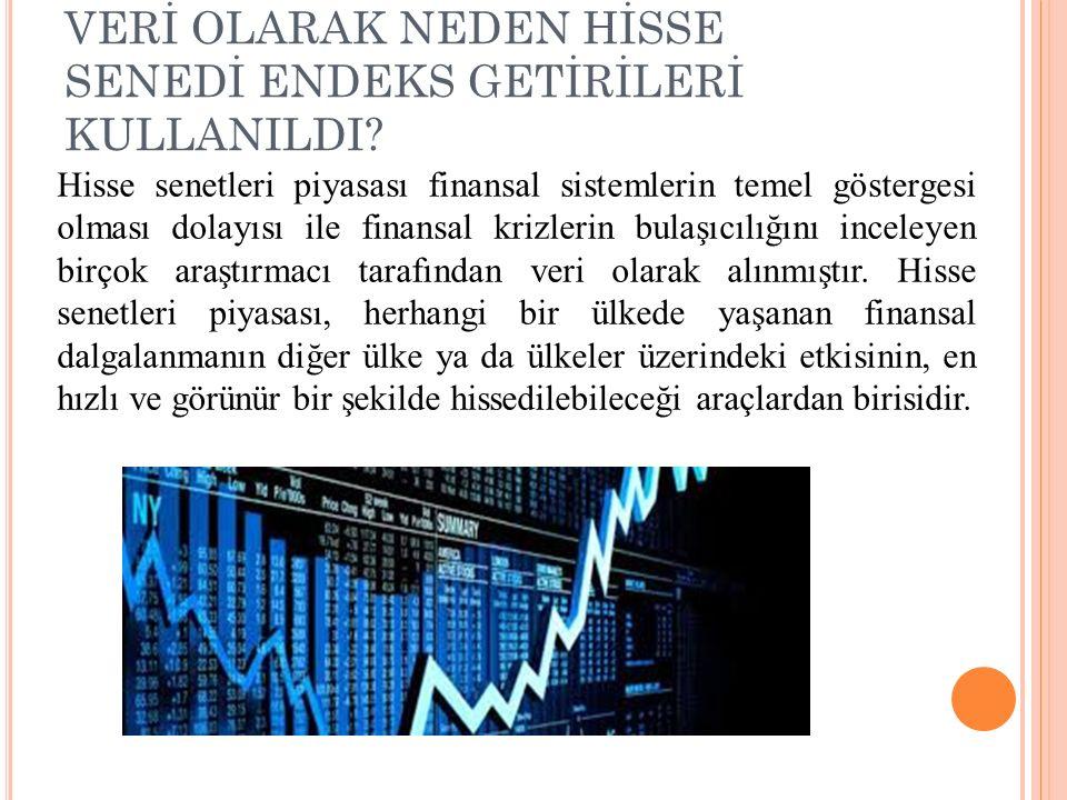 VERİ OLARAK NEDEN HİSSE SENEDİ ENDEKS GETİRİLERİ KULLANILDI? Hisse senetleri piyasası finansal sistemlerin temel göstergesi olması dolayısı ile finans