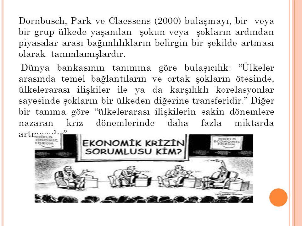 Dornbusch, Park ve Claessens (2000) bulaşmayı, bir veya bir grup ülkede yaşanılan şokun veya şokların ardından piyasalar arası bağımlılıkların belirgi