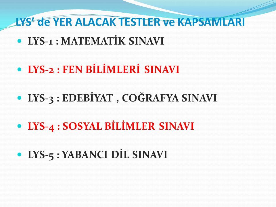 LYS' de YER ALACAK TESTLER ve KAPSAMLARI LYS-1 : MATEMATİK SINAVI LYS-2 : FEN BİLİMLERİ SINAVI LYS-3 : EDEBİYAT, COĞRAFYA SINAVI LYS-4 : SOSYAL BİLİMLER SINAVI LYS-5 : YABANCI DİL SINAVI