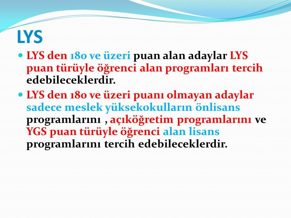 LYS LYS den 180 ve üzeri puan alan adaylar LYS puan türüyle öğrenci alan programları tercih edebileceklerdir.