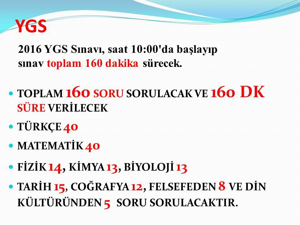 YGS TOPLAM 160 SORU SORULACAK VE 160 DK SÜRE VERİLECEK TÜRKÇE 40 MATEMATİK 40 FİZİK 14, KİMYA 13, BİYOLOJİ 13 TARİH 15, COĞRAFYA 12, FELSEFEDEN 8 VE DİN KÜLTÜRÜNDEN 5 SORU SORULACAKTIR.