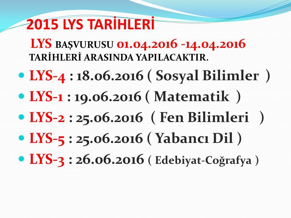 2015 LYS TARİHLERİ LYS BAŞVURUSU 01.04.2016 -14.04.2016 TARİHLERİ ARASINDA YAPILACAKTIR.
