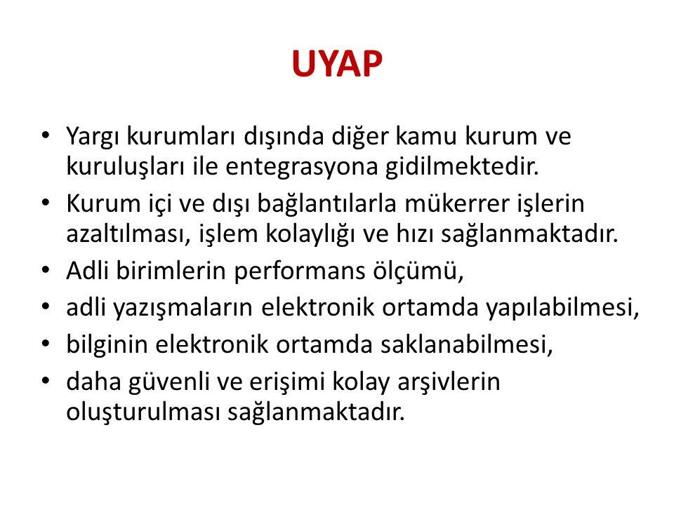 UYAP Yargı kurumları dışında diğer kamu kurum ve kuruluşları ile entegrasyona gidilmektedir.