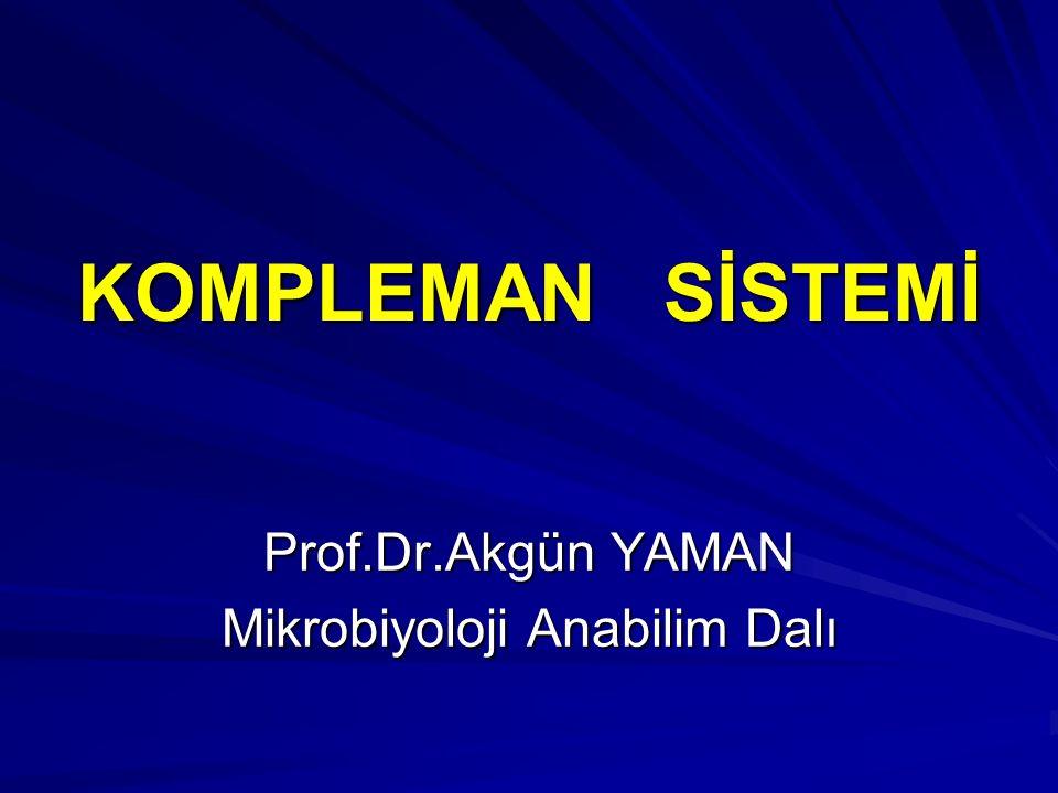 Kompleman Proteinleri Kompleman sistemindeki bu protein yapısındaki komponentler gerçekte proenzim gibi düşünülebilir.