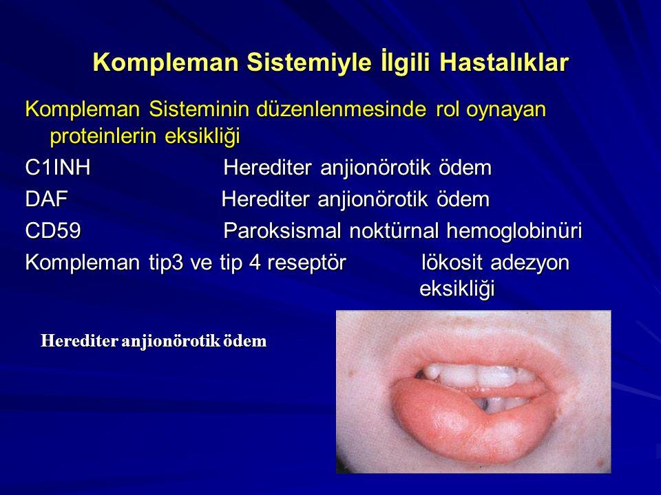 Kompleman Sistemiyle İlgili Hastalıklar Klasik yol C1qSLE, bakteriyel infeksiyonlar, hipopogamaglobülinemi,glomerülonefrit C1r Renal hastalık, SLE, ro