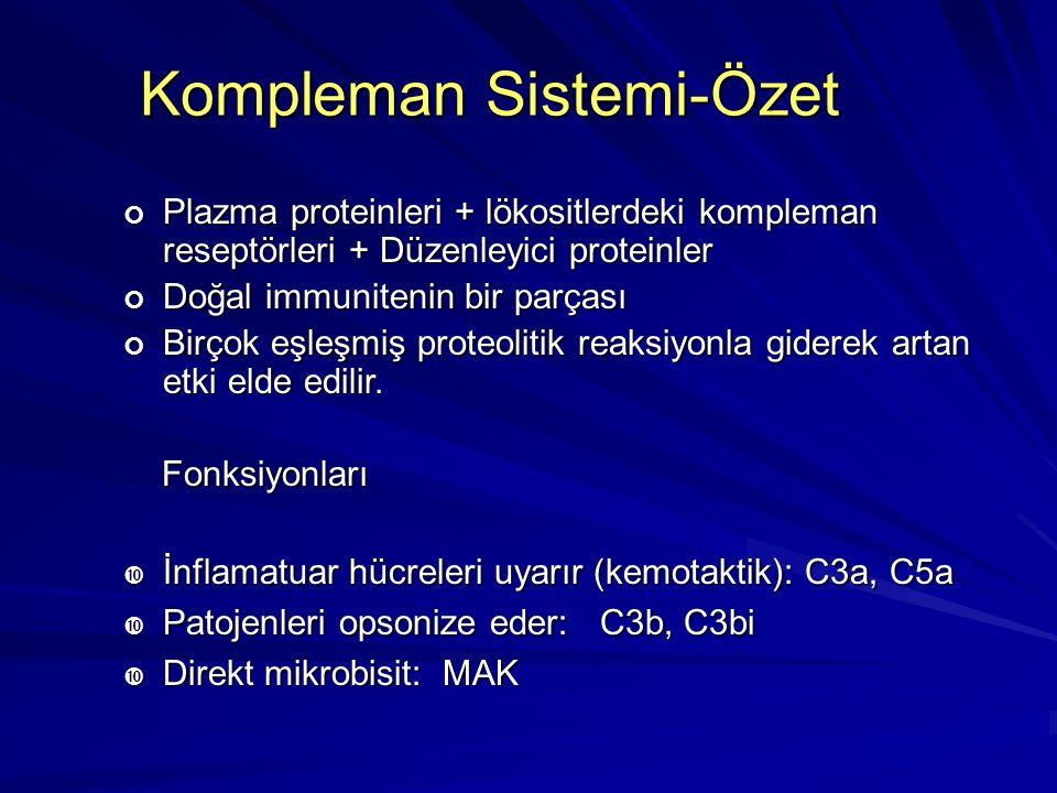 Kompleman Sistemiyle İlgili Hastalıklar Kompleman Sisteminin düzenlenmesinde rol oynayan proteinlerin eksikliği C1INHHerediter anjionörotik ödem DAF H