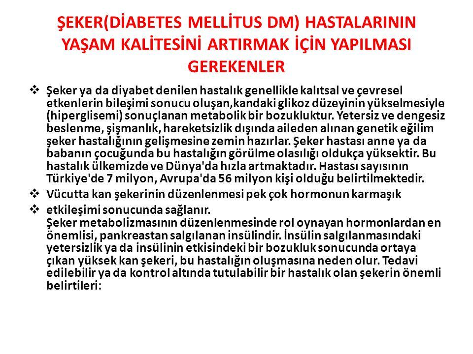 ŞEKER(DİABETES MELLİTUS DM) HASTALARININ YAŞAM KALİTESİNİ ARTIRMAK İÇİN YAPILMASI GEREKENLER  Şeker ya da diyabet denilen hastalık genellikle kalıtsa