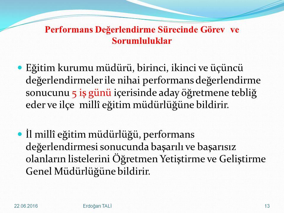 Performans Değerlendirme Sürecinde Görev ve Sorumluluklar Eğitim kurumu müdürü, birinci, ikinci ve üçüncü değerlendirmeler ile nihai performans değerl
