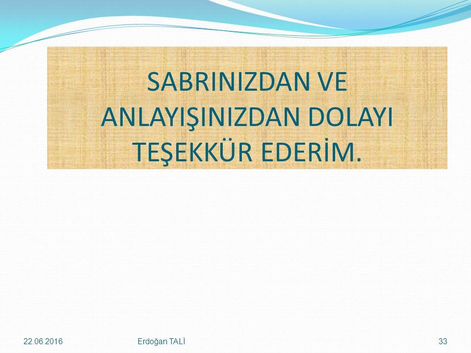 SABRINIZDAN VE ANLAYIŞINIZDAN DOLAYI TEŞEKKÜR EDERİM. Erdoğan TALİ22.06.201633
