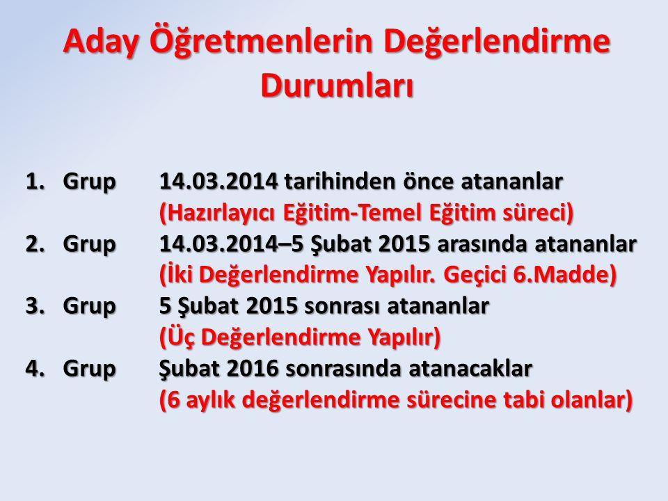 1.Grup14.03.2014 tarihinden önce atananlar (Hazırlayıcı Eğitim-Temel Eğitim süreci) 2.Grup14.03.2014–5 Şubat 2015 arasında atananlar (İki Değerlendirme Yapılır.