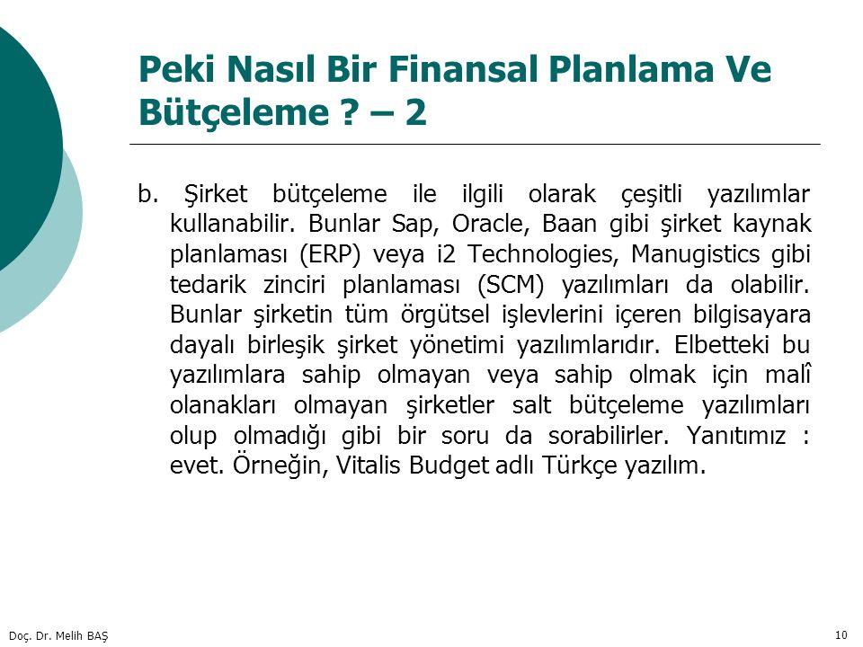 Doç. Dr. Melih BAŞ 10 Peki Nasıl Bir Finansal Planlama Ve Bütçeleme ? – 2 b. Şirket bütçeleme ile ilgili olarak çeşitli yazılımlar kullanabilir. Bunla