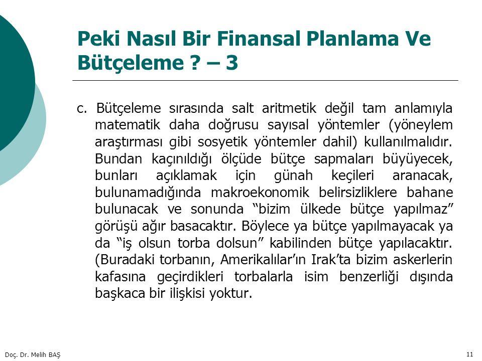 Doç. Dr. Melih BAŞ 11 Peki Nasıl Bir Finansal Planlama Ve Bütçeleme ? – 3 c. Bütçeleme sırasında salt aritmetik değil tam anlamıyla matematik daha doğ