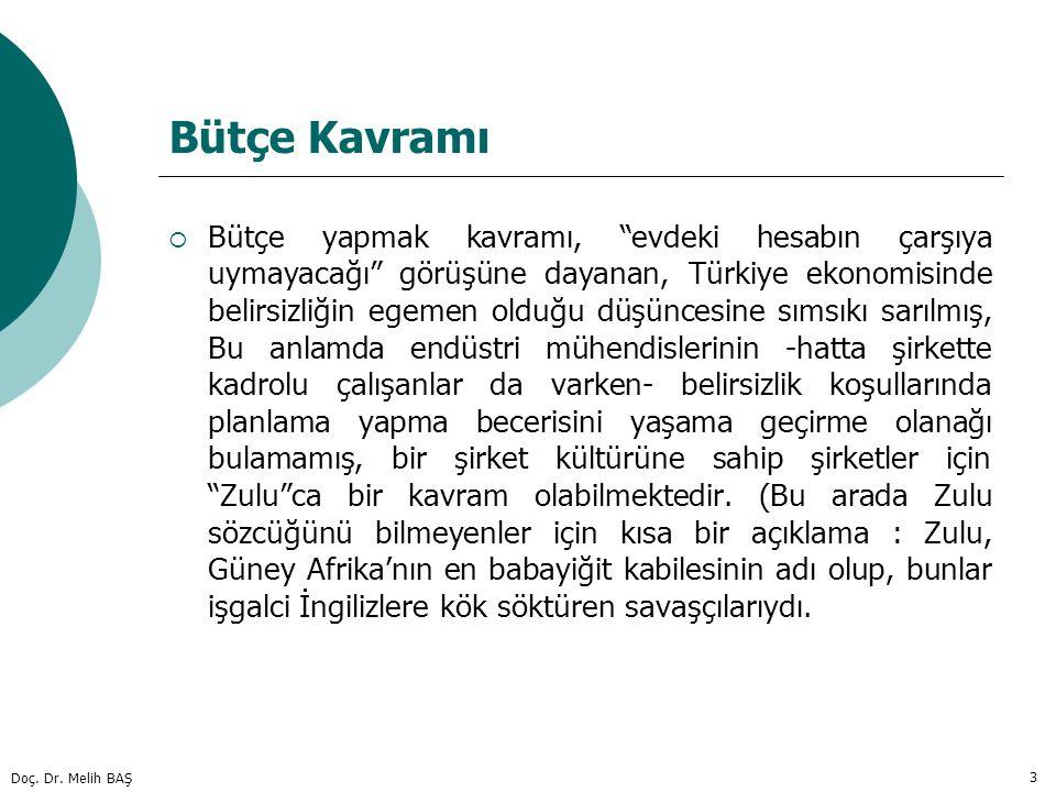 """Doç. Dr. Melih BAŞ 3 Bütçe Kavramı  Bütçe yapmak kavramı, """"evdeki hesabın çarşıya uymayacağı"""" görüşüne dayanan, Türkiye ekonomisinde belirsizliğin eg"""