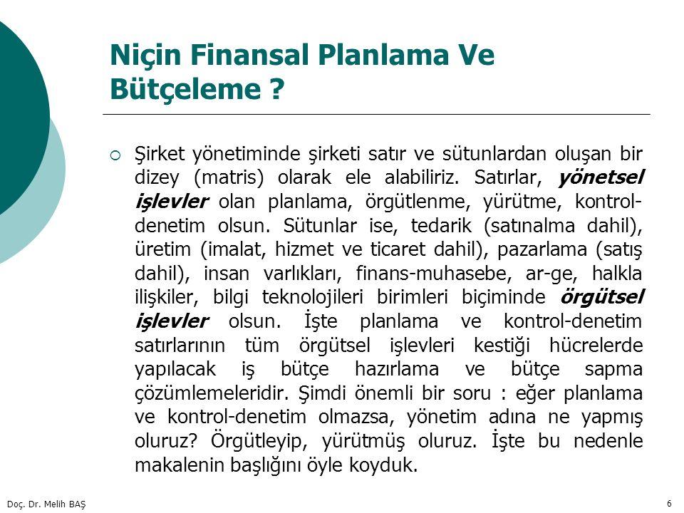 Doç. Dr. Melih BAŞ 6 Niçin Finansal Planlama Ve Bütçeleme ?  Şirket yönetiminde şirketi satır ve sütunlardan oluşan bir dizey (matris) olarak ele ala