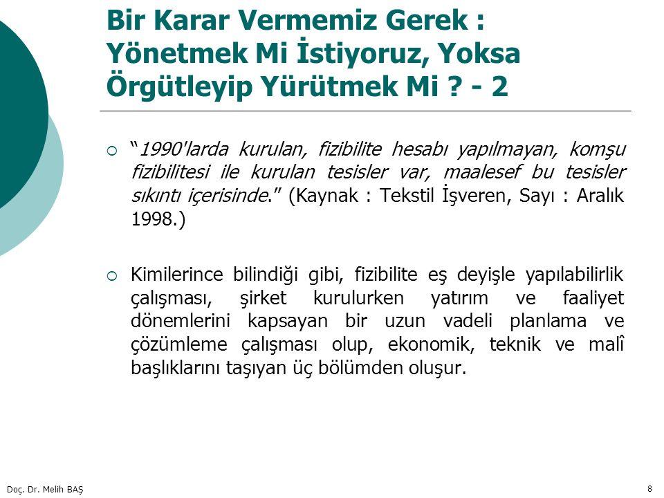"""Doç. Dr. Melih BAŞ 8 Bir Karar Vermemiz Gerek : Yönetmek Mi İstiyoruz, Yoksa Örgütleyip Yürütmek Mi ? - 2  """"1990'larda kurulan, fizibilite hesabı yap"""