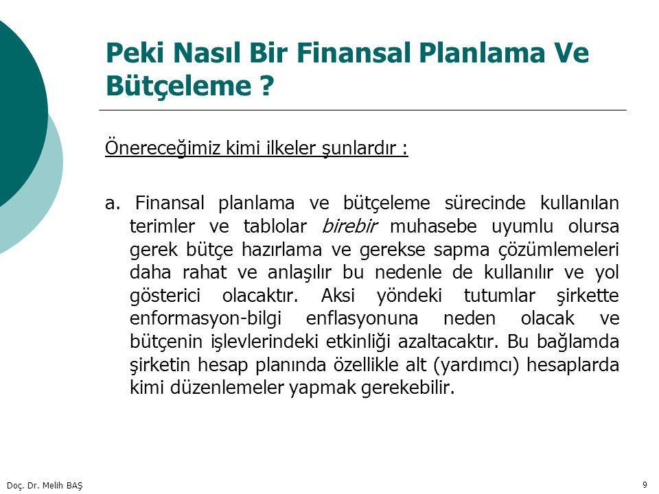 Doç. Dr. Melih BAŞ 9 Peki Nasıl Bir Finansal Planlama Ve Bütçeleme ? Önereceğimiz kimi ilkeler şunlardır : a. Finansal planlama ve bütçeleme sürecinde