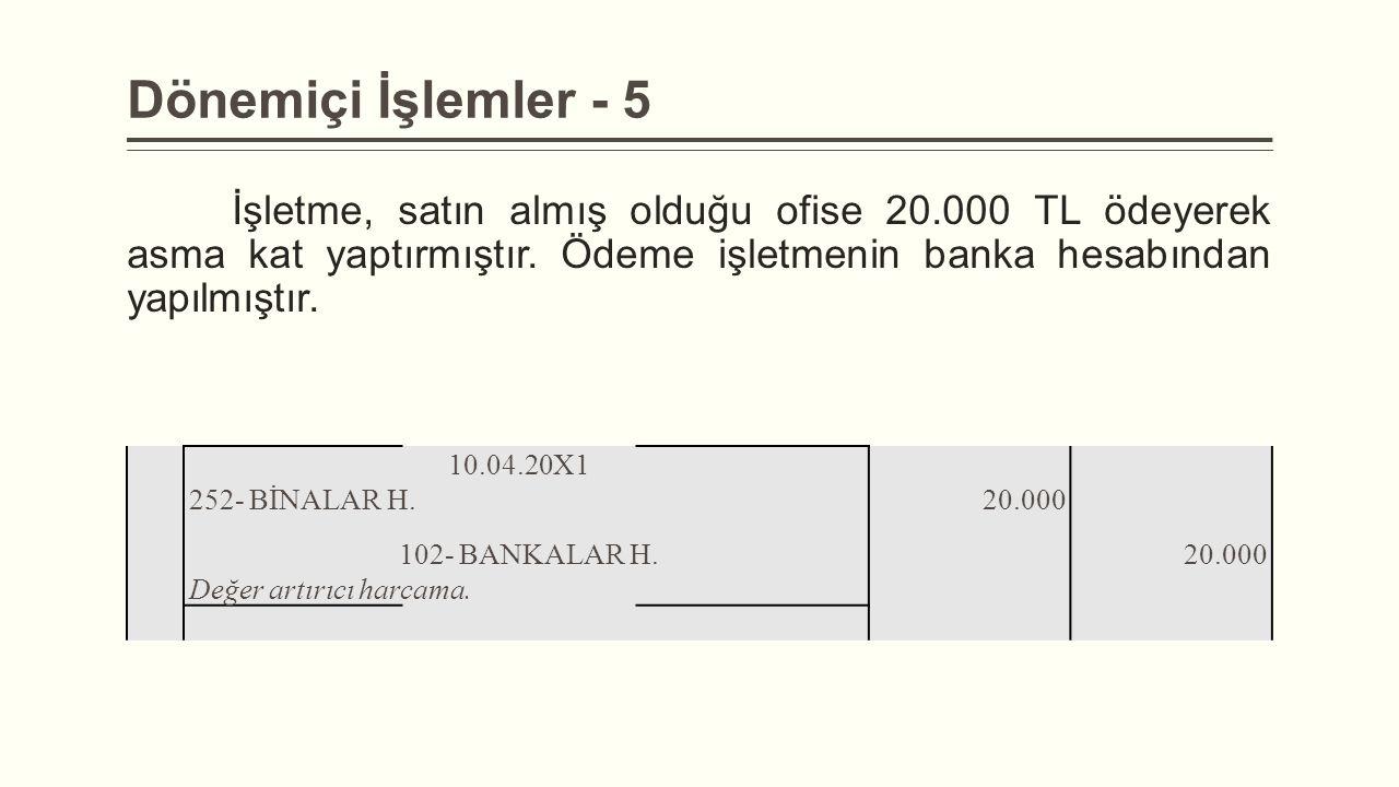 Dönemiçi İşlemler - 5 İşletme, satın almış olduğu ofise 20.000 TL ödeyerek asma kat yaptırmıştır. Ödeme işletmenin banka hesabından yapılmıştır. 10.04