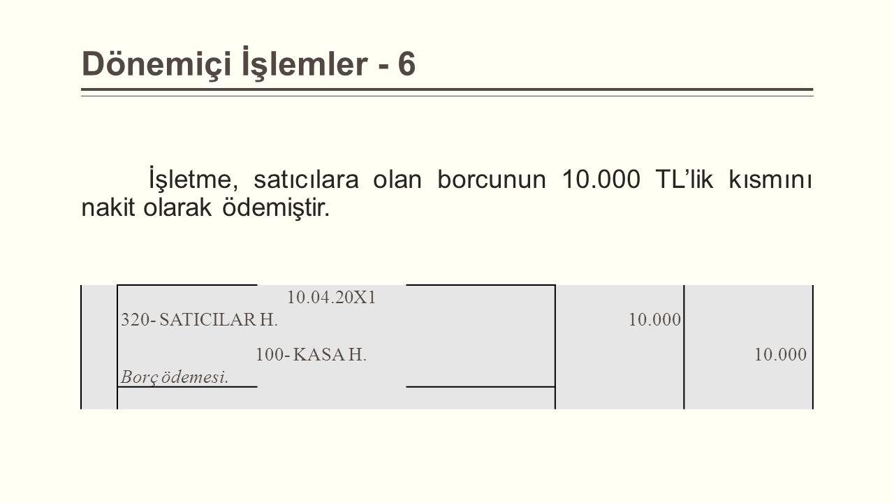 Dönemiçi İşlemler - 6 İşletme, satıcılara olan borcunun 10.000 TL'lik kısmını nakit olarak ödemiştir. 10.04.20X1 320- SATICILAR H. 10.000 100- KASA H.