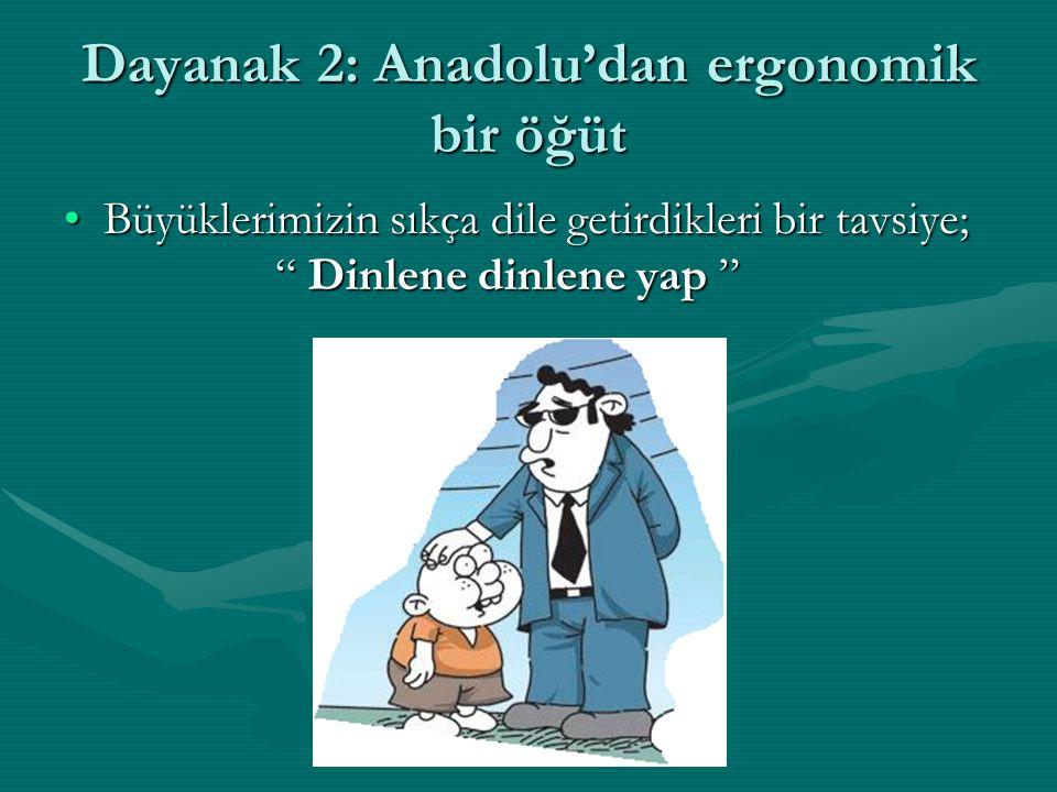 """Dayanak 2: Anadolu'dan ergonomik bir öğüt Büyüklerimizin sıkça dile getirdikleri bir tavsiye; """" Dinlene dinlene yap """"Büyüklerimizin sıkça dile getirdi"""
