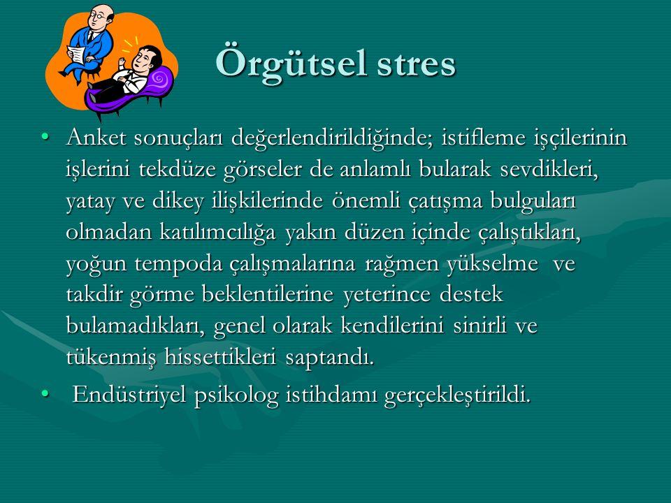 Örgütsel stres Anket sonuçları değerlendirildiğinde; istifleme işçilerinin işlerini tekdüze görseler de anlamlı bularak sevdikleri, yatay ve dikey ili