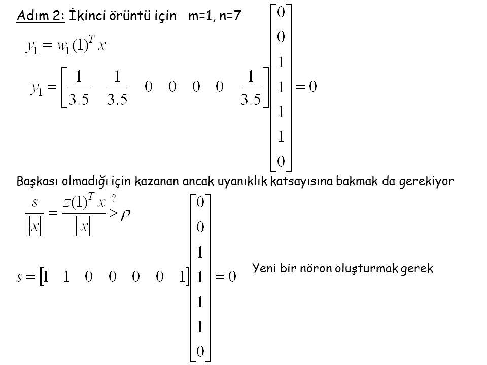 Adım 2: İkinci örüntü için m=1, n=7 Başkası olmadığı için kazanan ancak uyanıklık katsayısına bakmak da gerekiyor Yeni bir nöron oluşturmak gerek