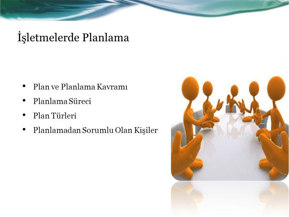 İşletmelerde Planlama Plan ve Planlama Kavramı Planlama Süreci Plan Türleri Planlamadan Sorumlu Olan Kişiler
