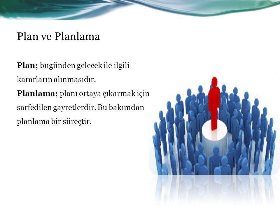 Plan ve Planlama Plan; bugünden gelecek ile ilgili kararların alınmasıdır.
