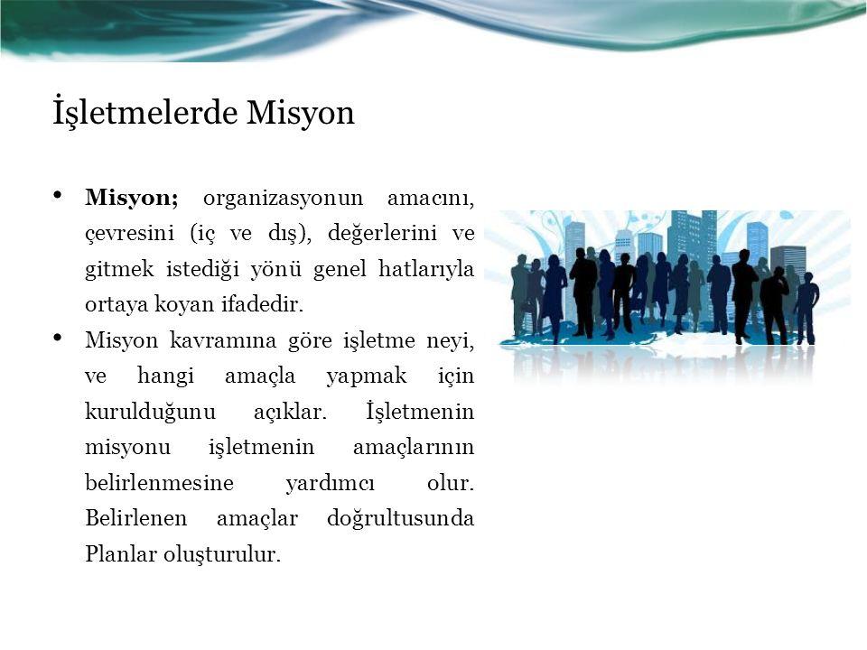 İşletmelerde Misyon Misyon; organizasyonun amacını, çevresini (iç ve dış), değerlerini ve gitmek istediği yönü genel hatlarıyla ortaya koyan ifadedir.