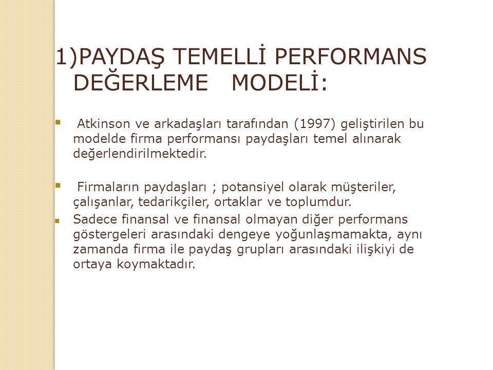1)PAYDAŞ TEMELLİ PERFORMANS DEĞERLEME MODELİ:  Atkinson ve arkadaşları tarafından (1997) geliştirilen bu modelde firma performansı paydaşları temel alınarak değerlendirilmektedir.