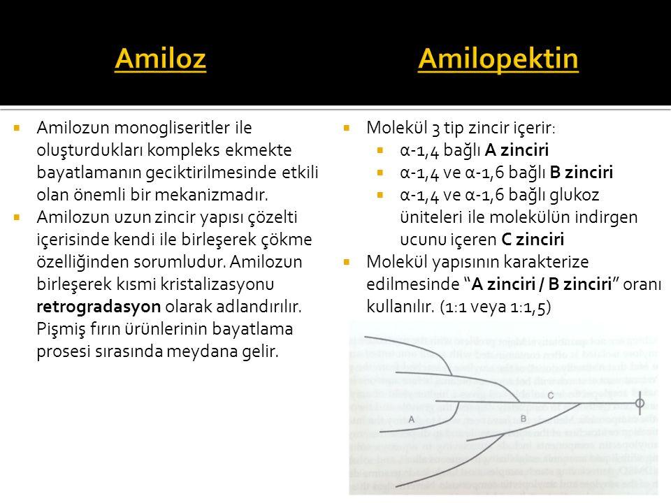  Amilozun monogliseritler ile oluşturdukları kompleks ekmekte bayatlamanın geciktirilmesinde etkili olan önemli bir mekanizmadır.  Amilozun uzun zin
