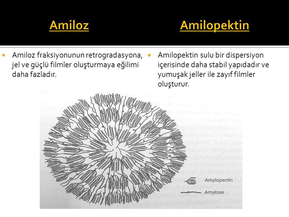  Amiloz fraksiyonunun retrogradasyona, jel ve güçlü filmler oluşturmaya eğilimi daha fazladır.  Amilopektin sulu bir dispersiyon içerisinde daha sta